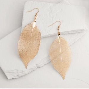 Delicate Hand Dipped Gold Leaf Earrings